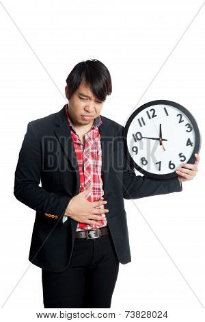 Asian Man Have Bad Eating Habit Get Stomachache With Clock
