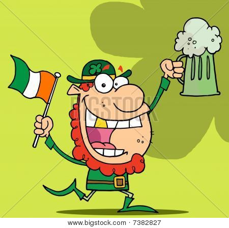 Happy Red Haired Leprechaun With A God Tooth, Dancing With A Flag And Mug Of Beer, On A Green Backgr