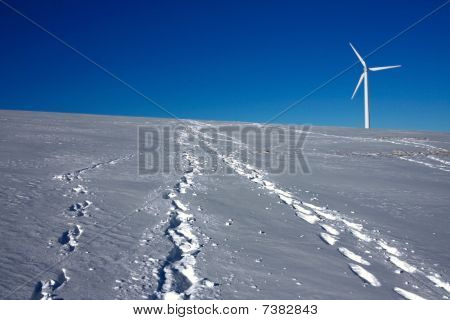 wind mill power turbine on horizon and human footprint