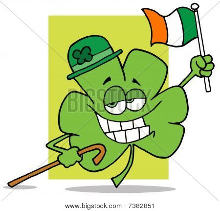 Shamrock Character Wearing A Green Hat, Holding A Cane And A Flag