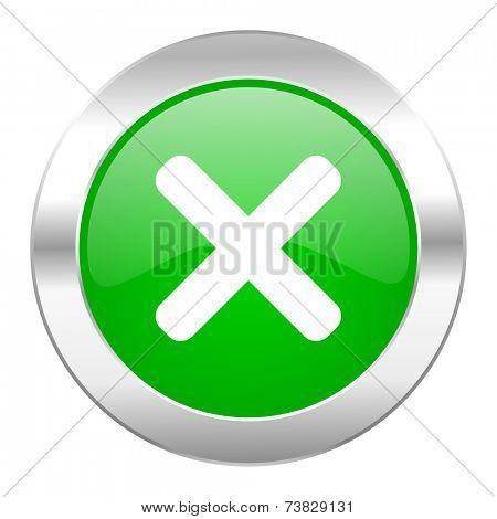 cancel green circle chrome web icon isolated