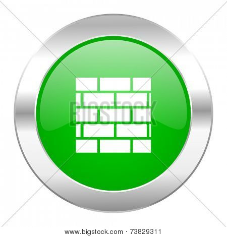 firewall green circle chrome web icon isolated