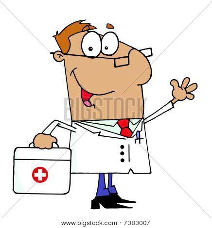 Tan Cartoon Arzt Mann seine medizinische Tragetasche