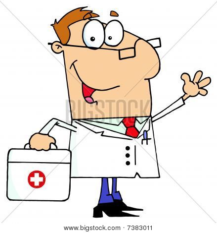 Arzt Mann seine erste-Hilfe-Tragetasche