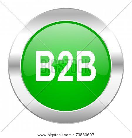 b2b green circle chrome web icon isolated