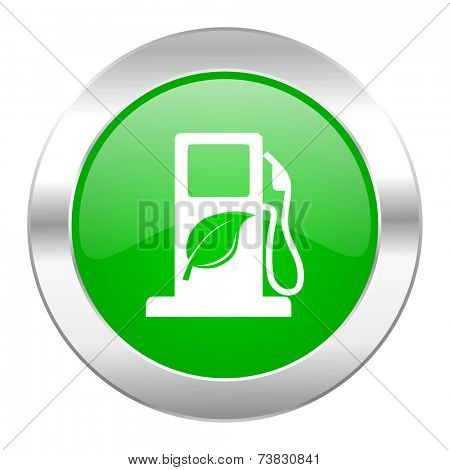 biofuel green circle chrome web icon isolated