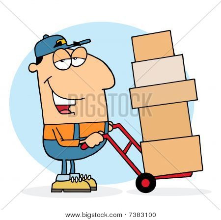 Caucasian Delivery Guy Using A Dolly To Move Boxes