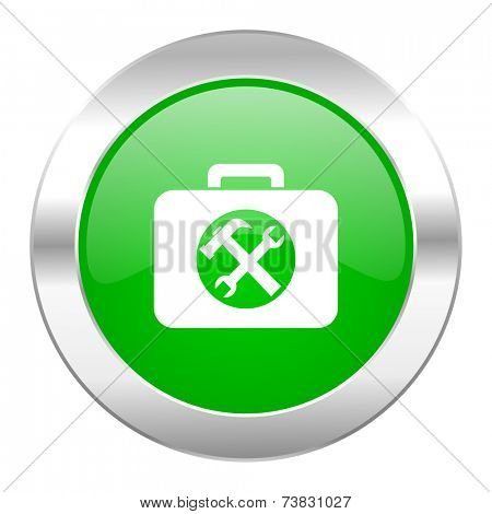 toolkit green circle chrome web icon isolated