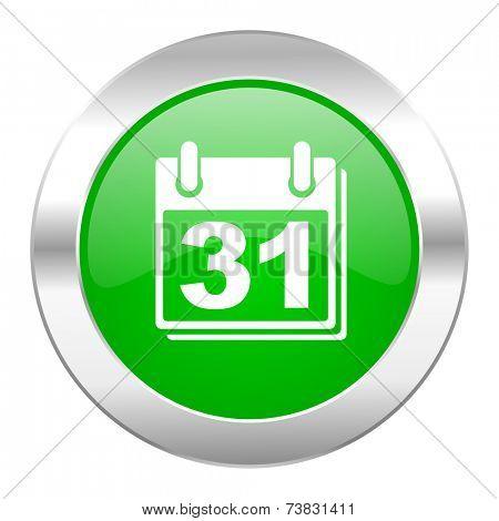calendar green circle chrome web icon isolated