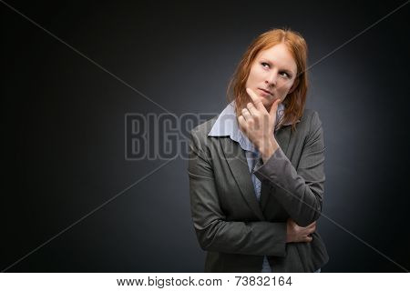 Businesswoman With Plans Or Vision