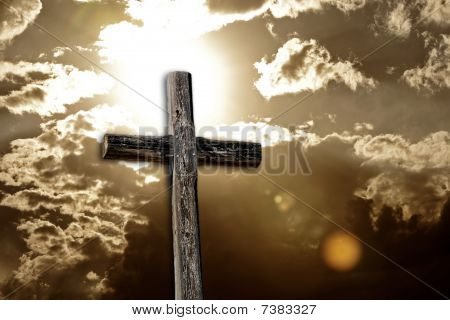 Rugged Cross, Bright Sun and Clouds (sepia)