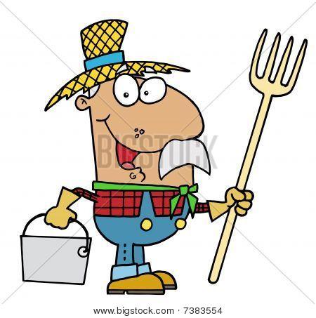 Hombre feliz granjero hispana con un rastrillo y cubo