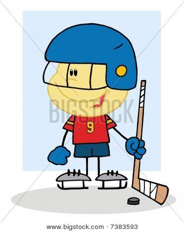 Happy Caucasian Boy Playing A Hockey Goalie