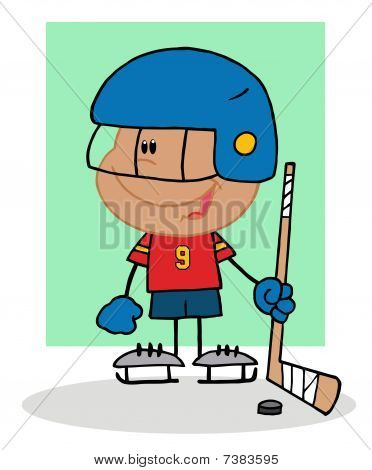 Happy Hispanic Boy Playing Hockey Goalie