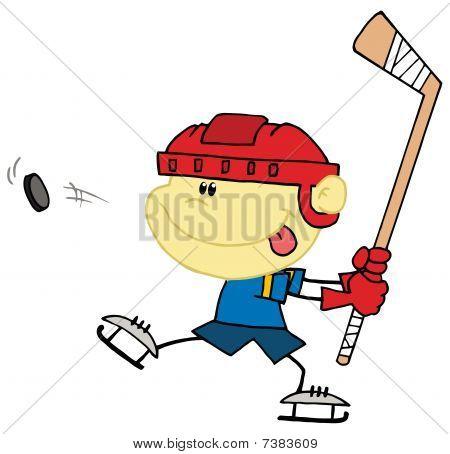 Caucasian Boy Playing Hockey