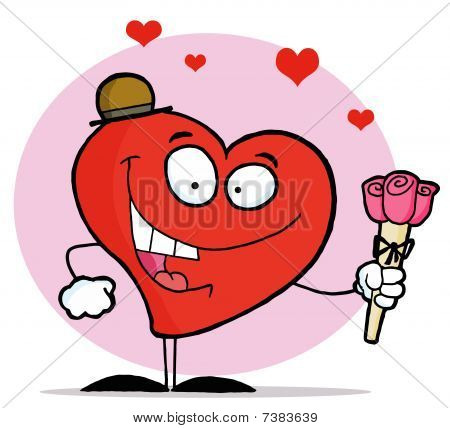 Romantic Red Heart Man Holding Three Pink Roses