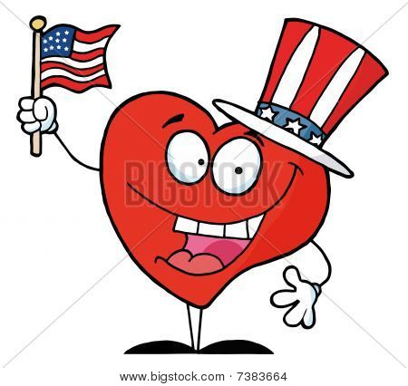 Happy Red Heart Character In A Patriotic Hat, Waving An American Flag