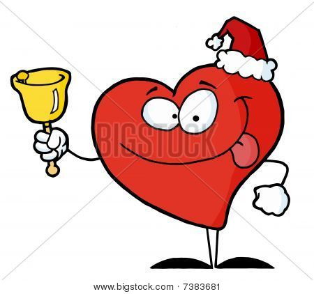 Red Philanthropist Heart Character Ringing A Bell For Donations On Christmas