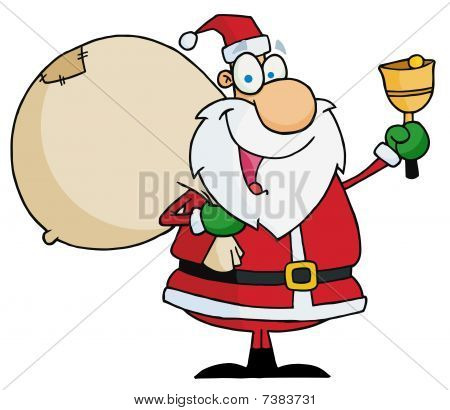 Jolly Christmas Santa Waving A Bell And Carrying His Toy Sack