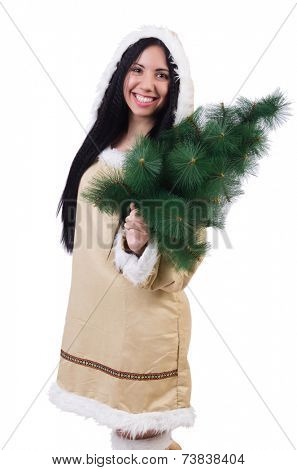 North woman with christmas tree isolated on white