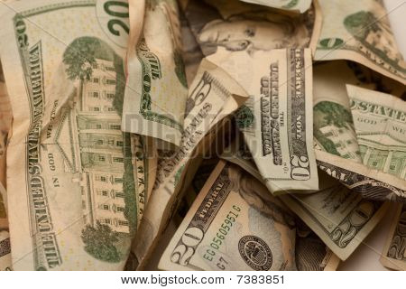 Nos plissados Dollar Bills Closeup