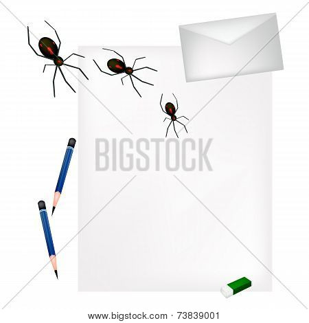 Pencil Lying on Blank Page with Evil Spiders