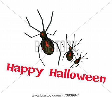 Three Evil Spiders with Word Happy Halloween