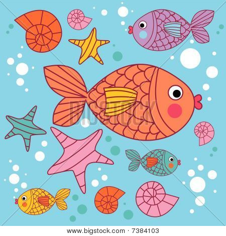 background with cartoons fish