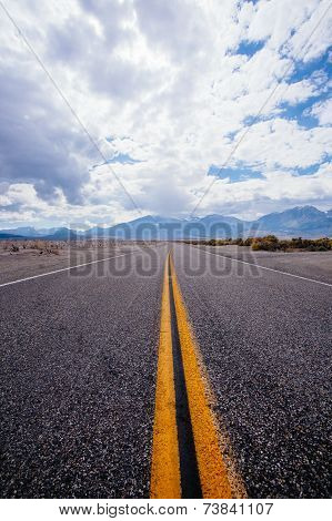 Endless road near highway 395