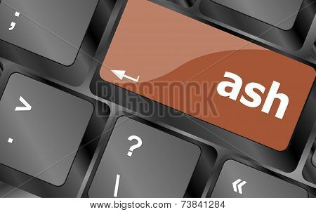 Ash Word On Keyboard Key, Notebook Computer