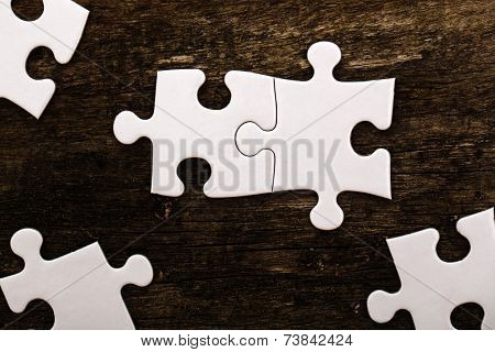 White puzzle on the table