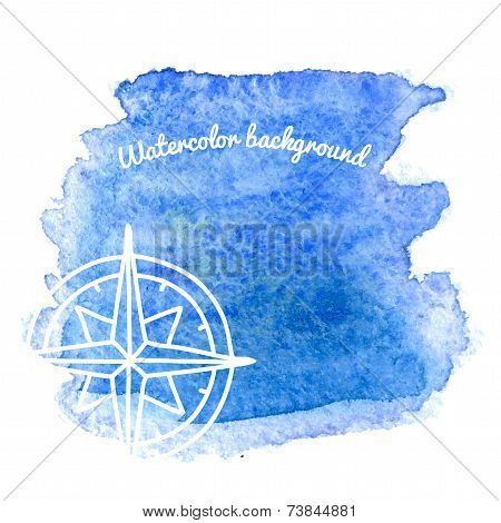 Watercolor Background With Nautical Elements