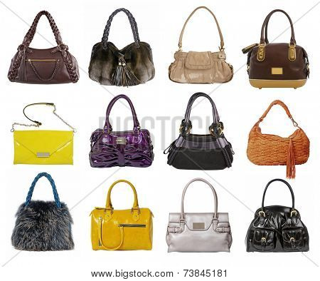 large collection of fashion handbag