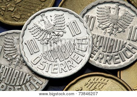 Coins of Austria. Austrian national coat of arms depicted in the old Austrian 10 Groschen coins.