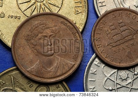 Coins of Greece. Greek national heroine Manto Mavrogenous depicted in the old Greek two drachma coin.