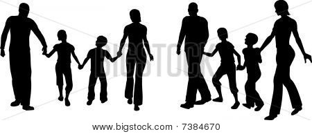 vector family of four silhouette