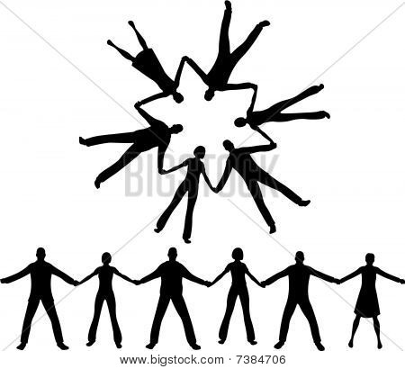 people together silhouette vector