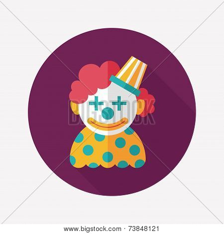 Clown Flat Icon With Long Shadow,eps10