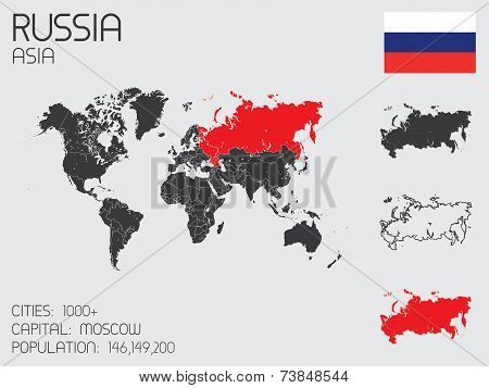 Set Of Infographic Elements For The Country Of Russia
