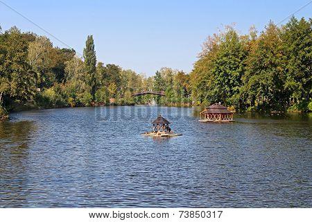 Pond in the park in Mezhyhirya - Former Private Residence Of Ex-president Yanukovich