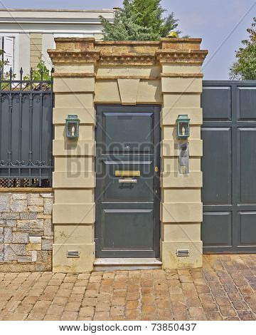 wealthy house door Athens suburbs Greece