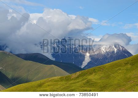 Caucasus Mountains In Upper Svaneti,famous Trekking Route To Ushguli Village, Georgia, Europe