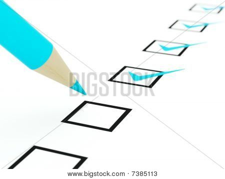 Checklist with blue pencil