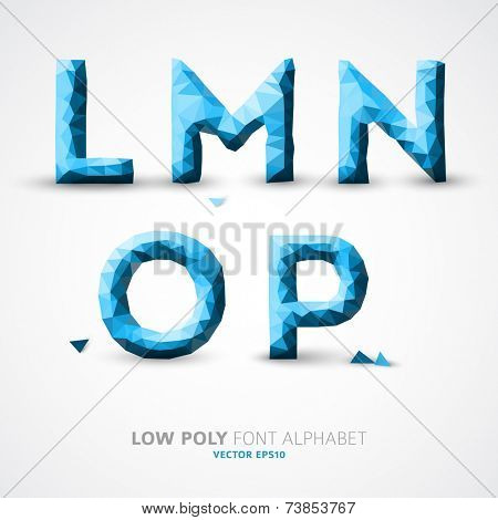 Blue Vector low poly alphabet font with shadow