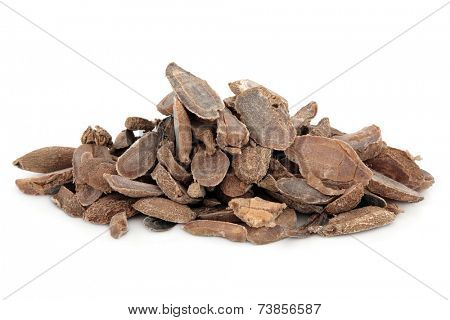 Curcuma root used in chinese herbal medicine over white background. Yu jin.