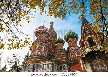 Saint Basil's Cathedral in autumn in Moscow