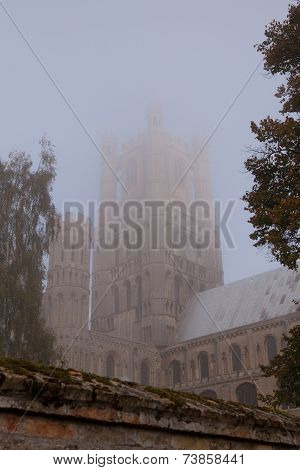 Ely Cathedral in early morning mist.