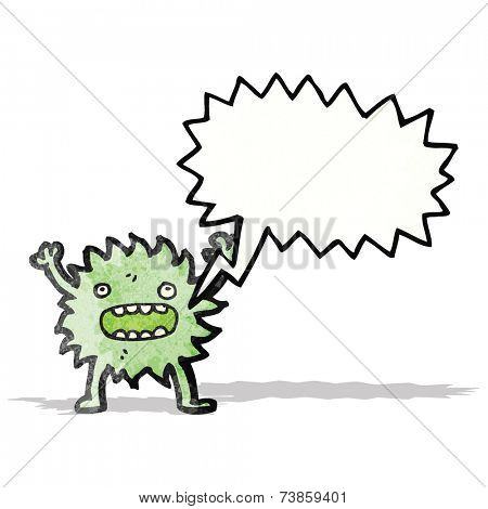 furry green creature with speech bubble