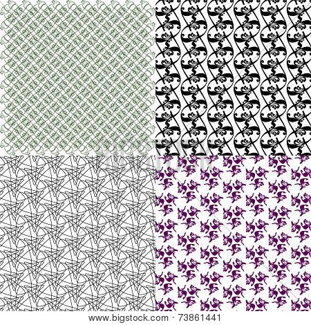 Set of abstract vintage geometric wallpaper pattern background. Vector
