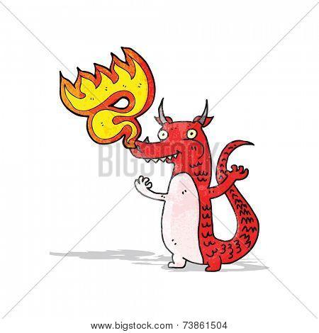 fire breathing cartoon little dragon
